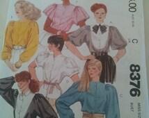 McCalls 8376 - Misses Blouses Size 8 (bust 31 1/2) 6 Styles