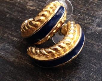 gold and blue vintage earrings, 1980's earrings