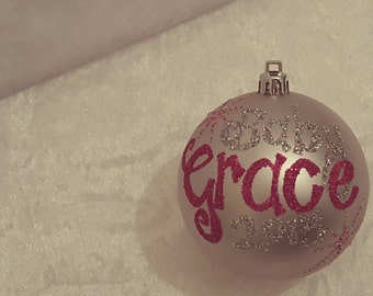 Christmas Personalised Baubles - baby pink