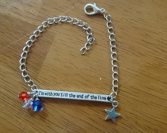 SALE I'm with you till the end of the line quote elegant silver necklace or bracelet