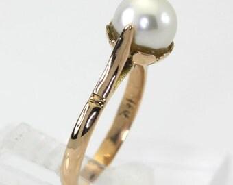 Vintage Estate Pearl ring 18K rose gold floral design setting 8 MM