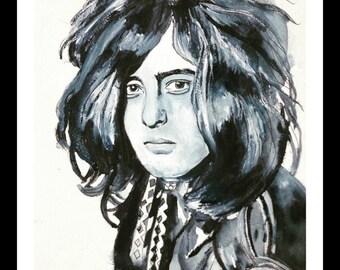 Jimmy Page Original Watercolor Print