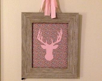 Pink and Grey Rustic Deer