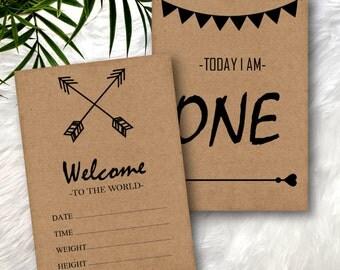SALE - Printable Baby Milestone Cards - Rustic Kraft Paper Arrows Tribal Hearts - Unisex Gender Neutral - 32 Cards In Total - DESIGN 077