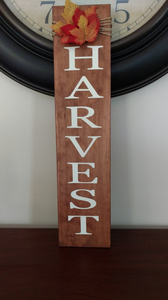 Harvest Sign On Barnwood For Fall Front Porch Decor: Harvest Wood Sign.Fall Decor.Wood Sign.Fall Wood Sign.Vertical