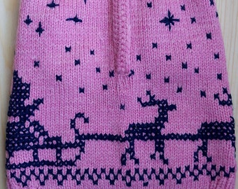 "Knitted sweater ""Christmas""   pink & blue"