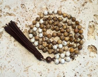 Jasper Tassel Necklace,mala jasper tassel,stone necklace with leather tassel,tassel necklace,yoga tassel necklace,mala tassel necklace,boho