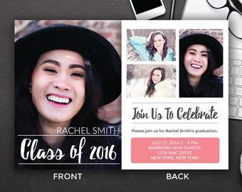 Graduation Announcements Templates - Graduation Card Templates - Senior Graduation Templates - Photoshop PSD *INSTANT DOWNLOAD*