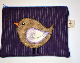 Bird Zippered Make up Case/Pencil Case.  Handcrafted featuring an applique design in hessian from a recycled coffee sack.