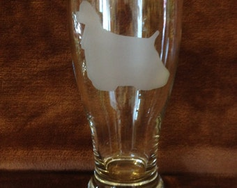 Sand Blasted Pub Glass Dog Breeds