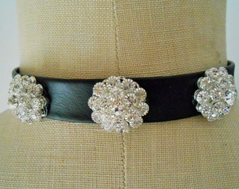 Black choker necklace, Black choker collar, Black choker collar necklace