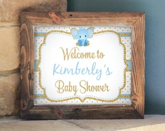 Editable Baby Shower Welcome Sign, Blue and Gold Elephant, Editable in Acrobat Reader, DIY, Instant Download, Printable, PDF