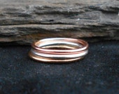 Set of three skinny rings, sterling silver ring, 14 gold filled and rose gold filled. Thin ring, stacking ring. Knuckle, toe ring
