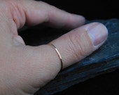 Super skinny thumb ring, sterling silver or 14k gold filled, hammered, 20 gauge. Skinny ring, thin ring, stacking ring.