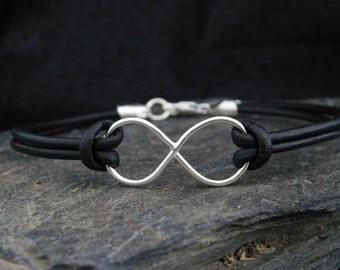 Sterling silver (0.925) infinity link bracelet, black leather cord (2mm), figure 8, made at your size
