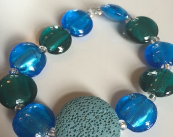 Essential oil diffuser bracelet. Blue and green. Shipping included in price