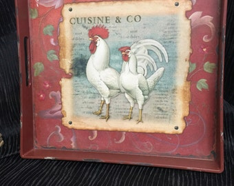 Rooster serving tray, wood with handles
