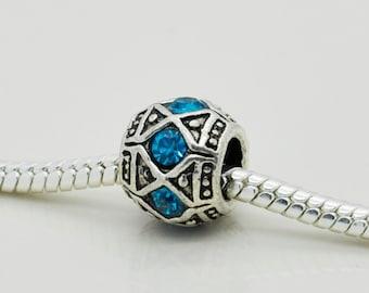 Sky Blue Rhinestones Bead, Bracelet Beads, European Bracelet Beads.