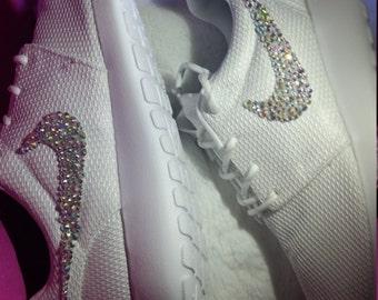 All White Women's Nike Roshe Customized Shoe