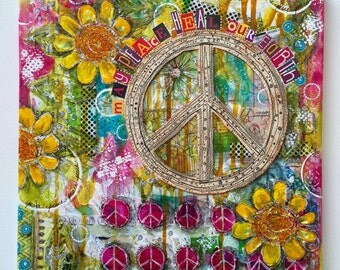 """peace sign collage, mixed-media (original 12"""" x 12"""") on canvas, ready to hang"""