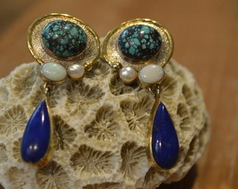 Silver and gold plated earrings set with semi precious stones