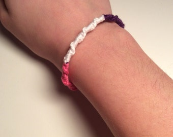 Pink, white, and purple Chinese staircase friendship bracelet