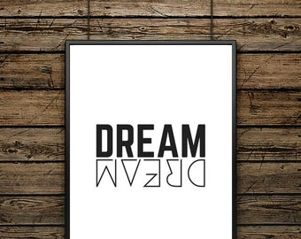 "Poster Word ""DREAM"" - Scandinavian Style - Wall decoration - Typographic Design - Black and White Illustration - Ideal for gift"