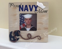 Proud Navy Mom Frame, Proud Navy Dad Frame, Anchor Frame, Nautical Frame, Custom Picture Frame, Home Decor, Gift for Home