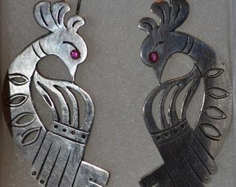 E-001: Solid Sterling Silver Aztec Style Peacock Bird with Fuchsia Stone Eye Hook Earrings
