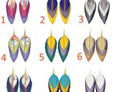 """REAL LEATHER feather earrings multicolored, 4"""", silver or golden findings, multi color natural texturized genuine leather long drop dangle"""