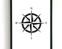 Nautical Compass, Gallery Wall Art Print, Navigational Compass Rose Wall Decor, North East South West, Modern Poster Print, Gallery Print