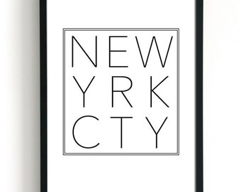 New York City wordt afgedrukt Posters New York Print typografie Wall Art New York kunst moderne Scandinavische minimalistische kunst stadsmuur woorden WordArt