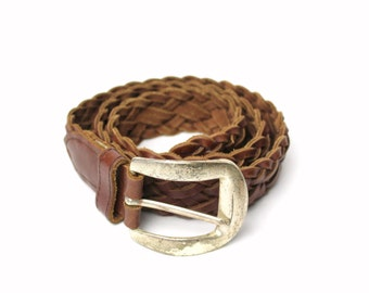 """Vintage Braided Brown Leather Belt By Century Canaada - 1.25"""" Wide, 34"""" Long - Size Small, Thick Wide, Genuine Leather - Made in Guatemala"""