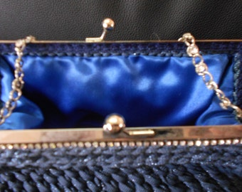 Blue Ribbon clutch with chain swarovski