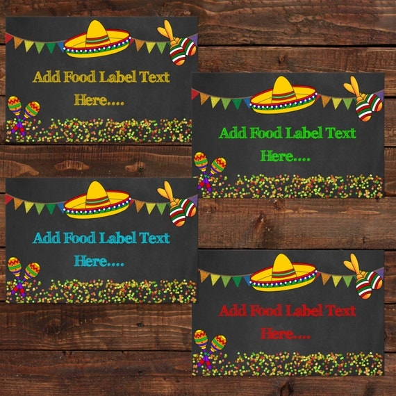 Mexican party food labels | printable food labels mexican ...