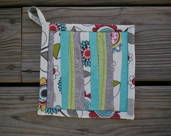 Quirky Striped Potholder - Funky Flowers