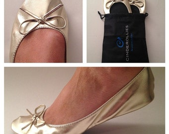 Cinderollies Foldable Ballet Flats, Ballet Flats, Rollable Flats, Wedding Flats, Bridal Flats, Wedding Slippers, Wedding Shoes, Dancing shoe