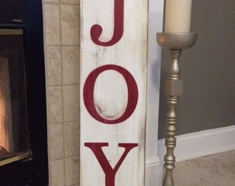 Red Wooden Joy Sign, Christmas Sign, Holiday Sign