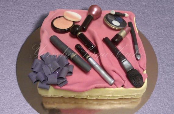 Edible Cake Decorations Makeup : Edible Fondant Set Make Up 11 pcs Cake topper Woman gift ...