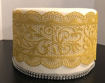 2 x Edible Sugar Lace, Edible Cake Lace, Cake Lace Applique Applique (FREE SHIPPING)