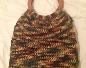 Camo colored crocheted purse