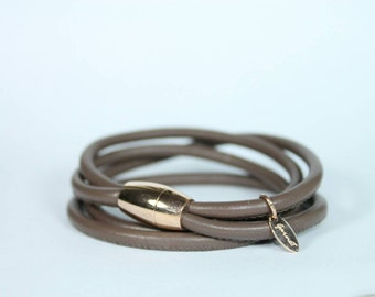 Taupe leather wrap bracelet