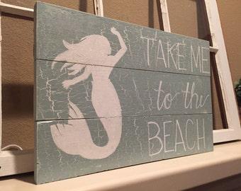 Mermaid Beach Sign, beach house, bathroom decor, kids room decor, beach