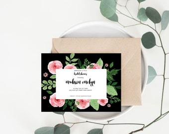 Pink Watercolor Floral Bridal Shower Invitation | Digital File