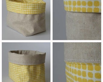 Fabric bin basket, fabric storage, yellow dots, reversible, can be used on both sides
