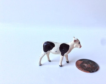 Vintage Johillco Britains Farm Animal Cow/Calf Brown and White 92% paint