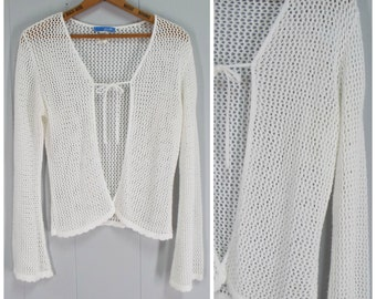Vintage Womens Delias 1990s Open Weave Knit Cardigan | Size: Up to M