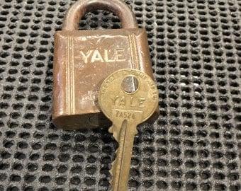 Vintage Brass Yale Lock with Key