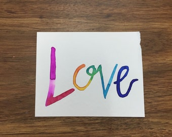 Love Watercolor Painting 4x5in
