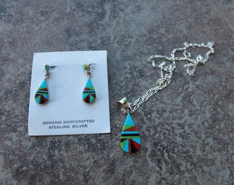 Multi-Stone Tear Drop Necklace and Earrings Set in Sterling Silver